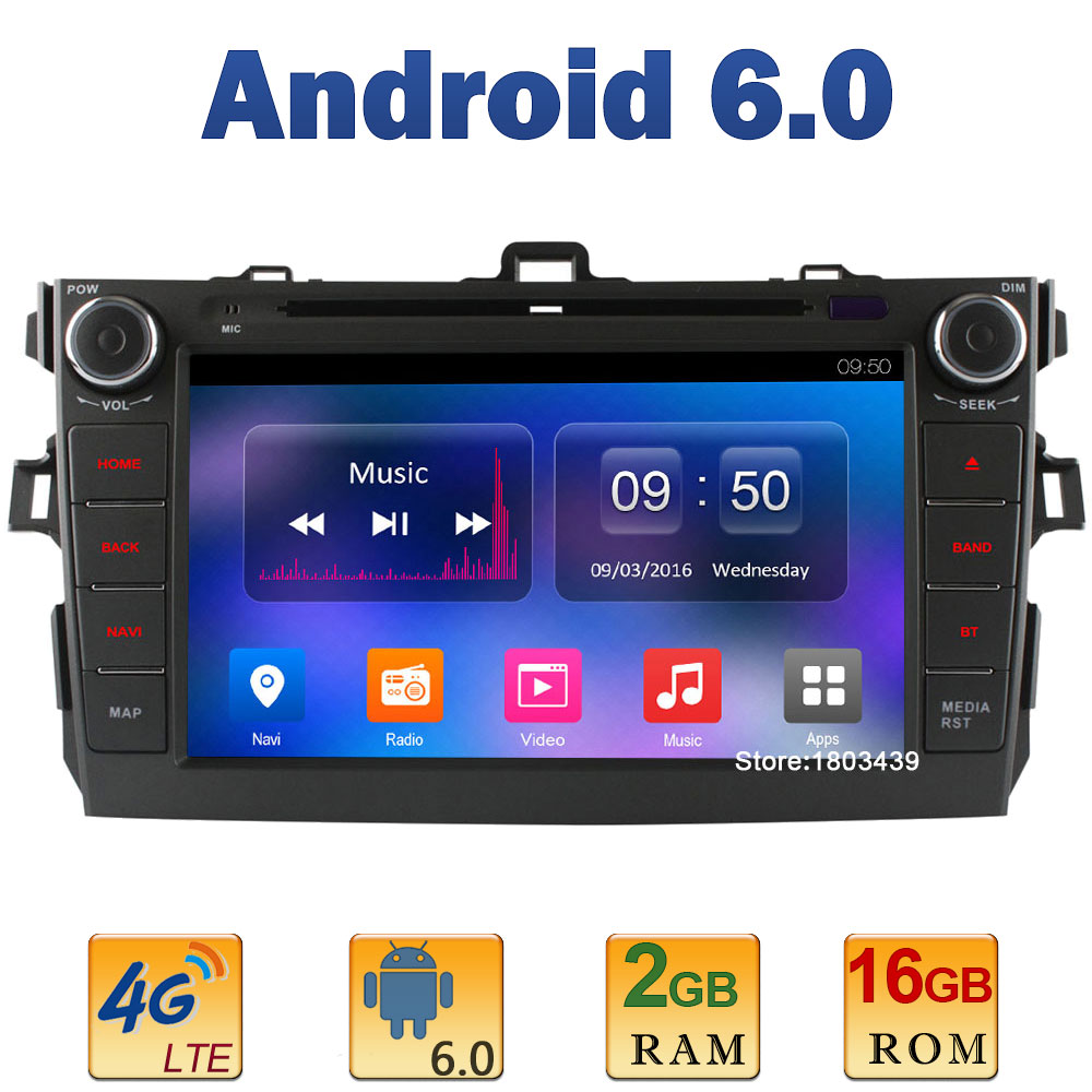 8″ Quad Core 2GB RAM+16GB ROM 4G LTE SIM WIFI Android 6.0 Car DVD Multimedia Player Radio Stereo For Toyota Corolla 2006-2011 BT