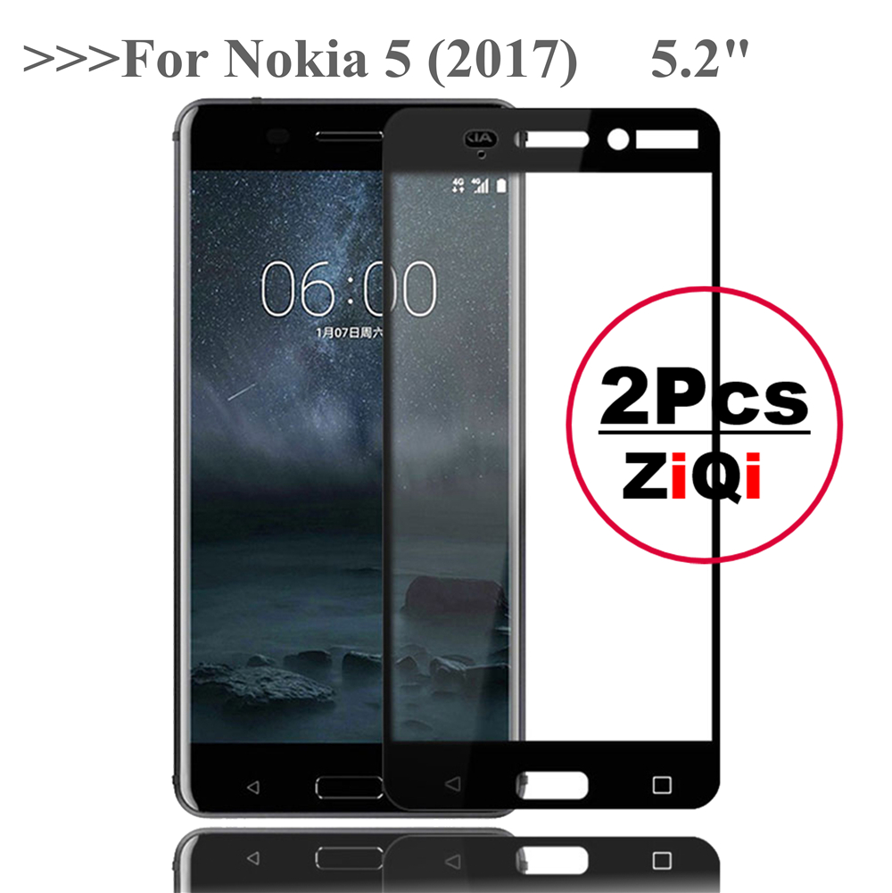2 Pcs 2.5D Screen Protector For Nokia 5 (2017) 5.2 Full Cover Tempered Glass For Nokia 5 Nokia5 Dual Sim Protective Glass Film