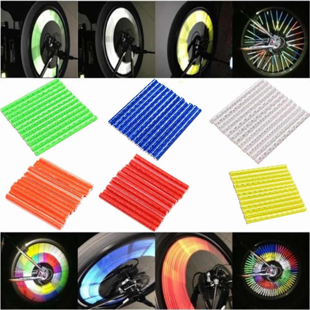 12 Bike Bicycle Cycling Spoke Wheel Reflector Reflective Safety Stocking Filler