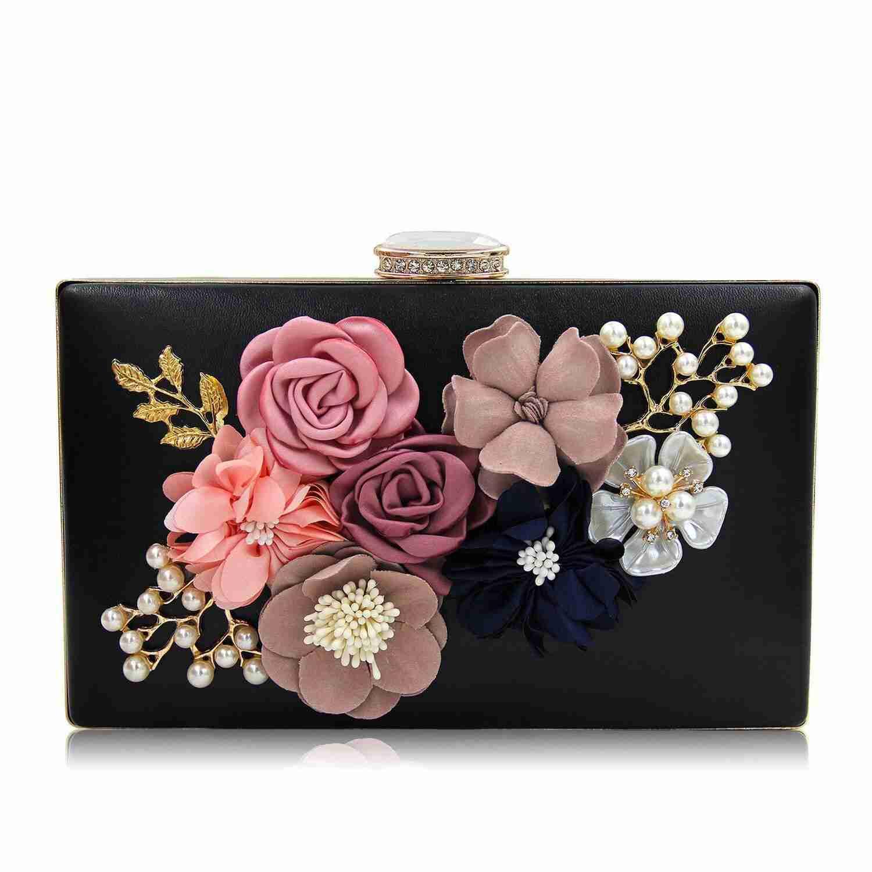 AFBC-Women Clutch Bags Flower Evening Bag Wedding Handbag Clutches Purse Colour Name: Black