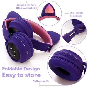 Image 4 - JINSERTA chat oreille LED Bluetooth casque Bluetooth 5.0 enfants casque lumineux mains libres casque de jeu écouteurs pour PC C