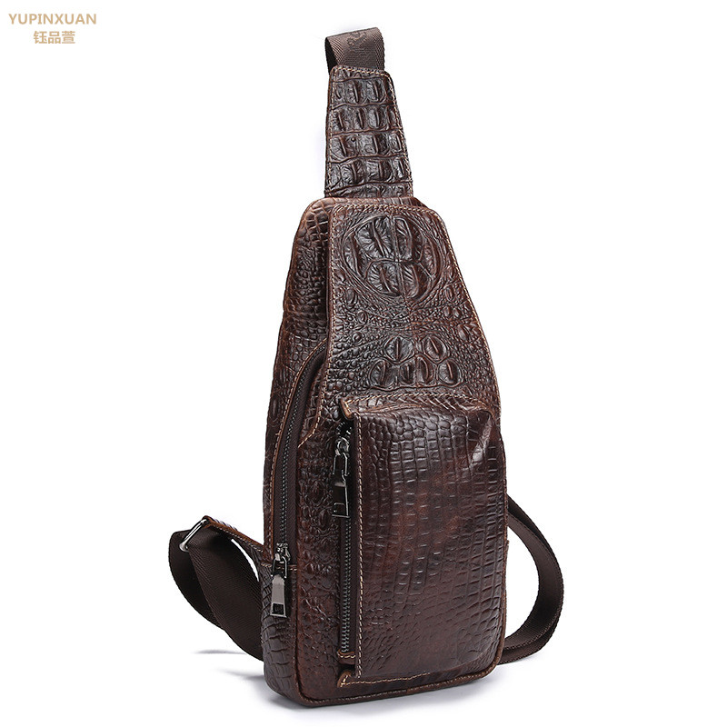 YUPINXUAN Vintage Cow Leather Messenger Bag for Men Luxury Crocodile Grain Chest Bags Cowhide Crossbody Bag Chest Packs Russian yupinxuan vintage cow leather messenger bag for men luxury crocodile grain chest bags cowhide crossbody bag chest packs russian