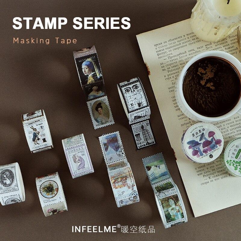 Mohamm Stamp Series Stationery Scrapbooking Masking Tape Handbook Diary DIY Decoration School Supplies Stationery