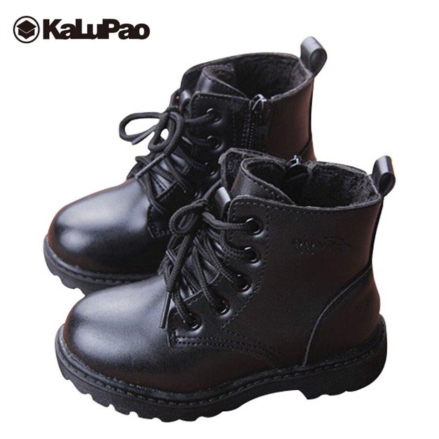 Купить Kalupao теплые зимние ботинки для мальчиков и девочек, кожаные зимние  ботинки с мехом на плоской нескользящей резиновой подошве, детская зимня. 0b118af34a5