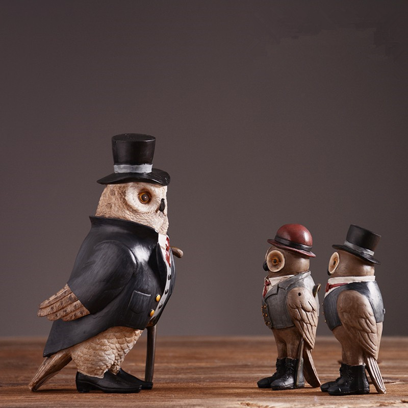 Résine décorative hibou neige oiseau Statue colophonie artisanat maison bureau cadeau décoratif L3385