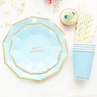 Gold Foil Light Blue Happy 1st Birthday Tableware Set Plate Cup Straw Boy Girl Kid Birthday