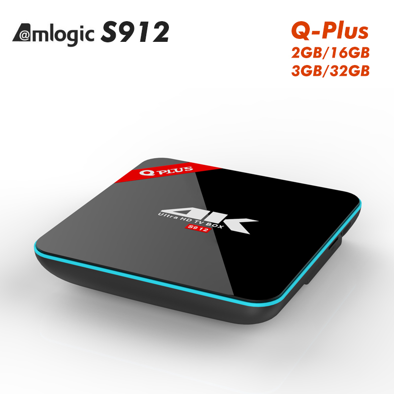 ФОТО Q plus TV Box Amlogic S912 Android 6.0 Set Top BOX Quad Core 2.4GHz +5.8GHZ WiFi Kodi  Set-top Box tv smart android box