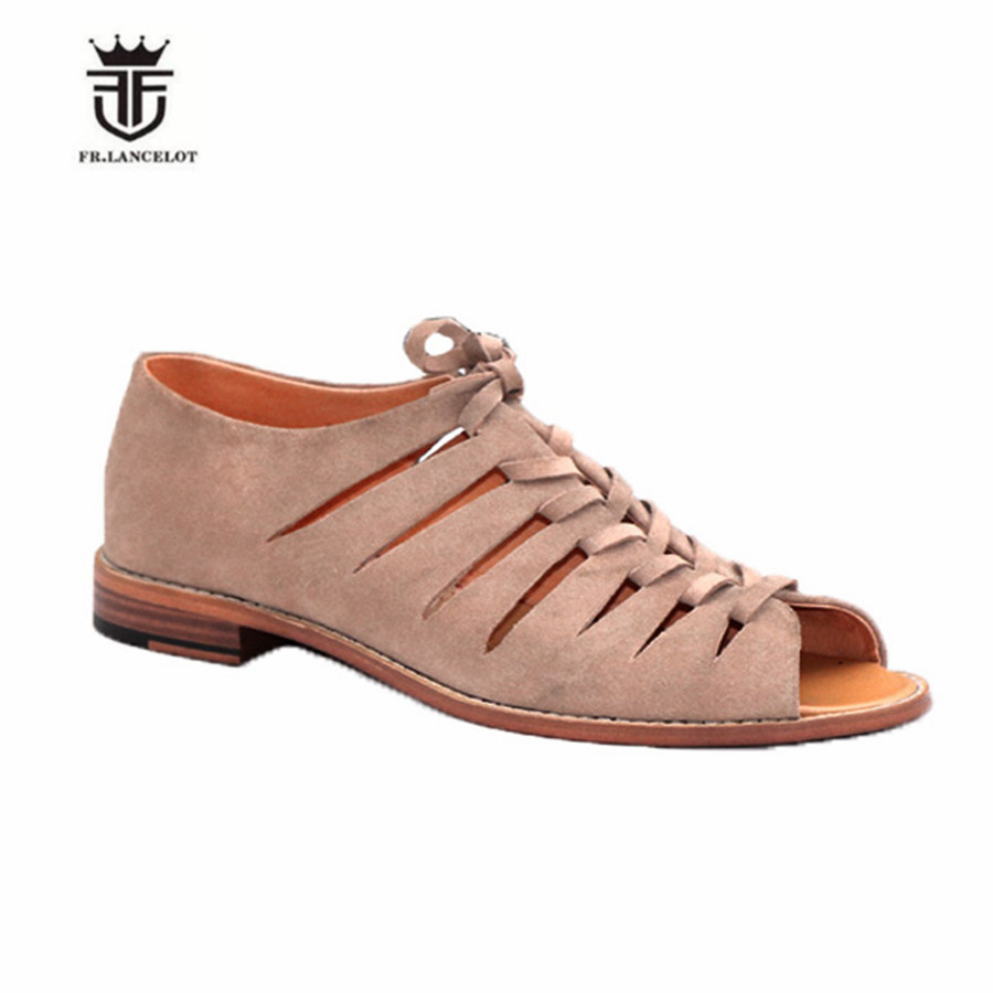 Ayakk.'ten Erkek Sandaletleri'de YENI Açık Ayak Yaz Erkekler Hakiki deri Sandalet Kişiselleştirilmiş El örgü Roma lüks'da  Grup 2