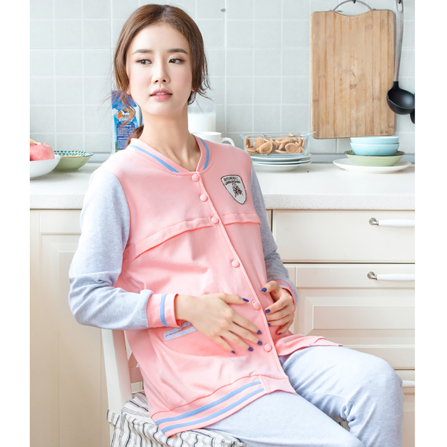 Autumn Winter Maternity Nursing Clothes For Pregnant Long Sleeve Luxury Soft Cotton Maternity Sleepwear For Feeding 60M0043 cotton materinty nursing pajamas long sleeve pijamalar hamile plaid pajamas set maternity sleepwear for pregnant women 50m084