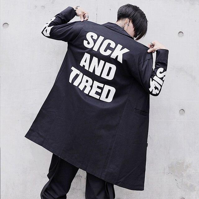 Nuovi Arrivi di Modo Degli Uomini della Molla Trench e Impermeabili Cappotto Streetwear Lungo Cappotto Hip Hop Giacca A Vento Cappotto Uomo Outwear ABZ167