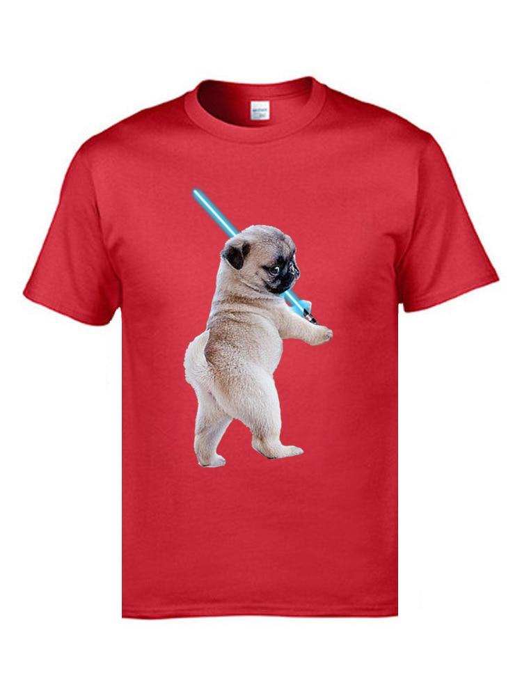 Pug with Lightsaber 9311 Hip hop Thanksgiving Day All Cotton Crewneck Men Tops Tees T Shirt 2018 Discount Short Sleeve T-Shirt Pug with Lightsaber 9311 red