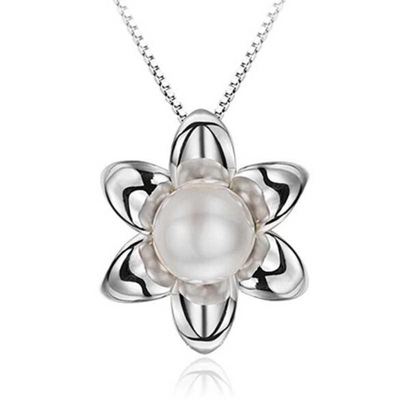 Omhxzj Grosir Fashion Bunga Matahari Wanita Hadiah ABS Shell Pearl Zircon 925 Sterling Silver Liontin PE165 Tidak Ada Rantai Kalung