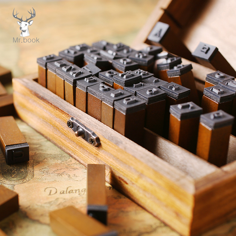 70pcs/set DIY Number Alphabet Combination Letter Stamp Diary Ablum Wedding Letter Wood Rubber Stamp Set With Vintage Wooden Box
