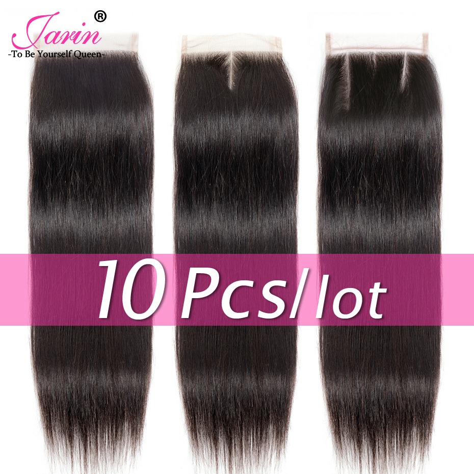 Jarin 10 Pieces lot Brazilian Straight Hair Lace Closure Free Middle Three Part Human Hair 4x4