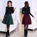 Vintage Wool A Linen Skirt 2016 Winter High Waist Large Size Warm Midi Skirt Casual Solid Jupe Femme