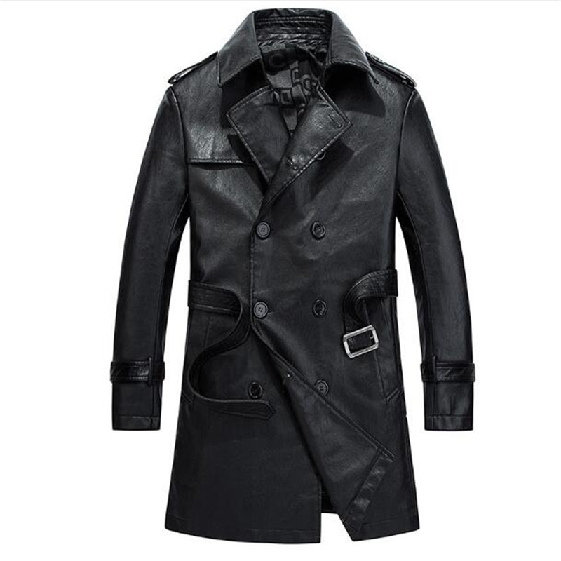Free Shipping 2018 Leather Good Quality   Trench   Coat Spring 2016 Double Breasted Windbreaker Men Jacket