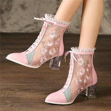 Women Cow Leather Chunky High Heel Party Ankle Boots Breathable Lace Wedding Pointed Toe Pumps Casual Shoes Embroider Sandals