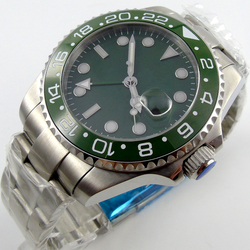 43mm zielona oliwka tarcza GMT ceramiczna ramka szkiełka zegarka szafirowy automatyczny męski zegarek P7