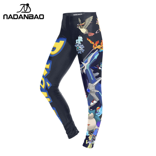 NADANBAO Summer Autumn Women Leggings Cartoon Pokemon GO Pikachu Print Legging Pink Leggins Slim Legins Womens Pants