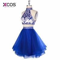 XCOS 2018 Royal Blue Gardlilac Halter Two Pieces Homecoming Dress Tulle Beading Short Homecoming Dress Sexy Party Dress vestidos
