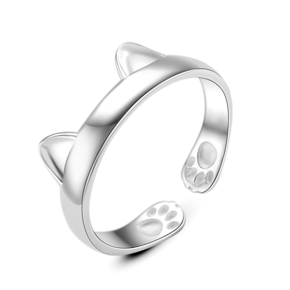 Women Lady Silver Plated Cat Rings Fashion Kitten Ears Design Adjustable Size For Young Girls Party Jewelry Top Quality Gift