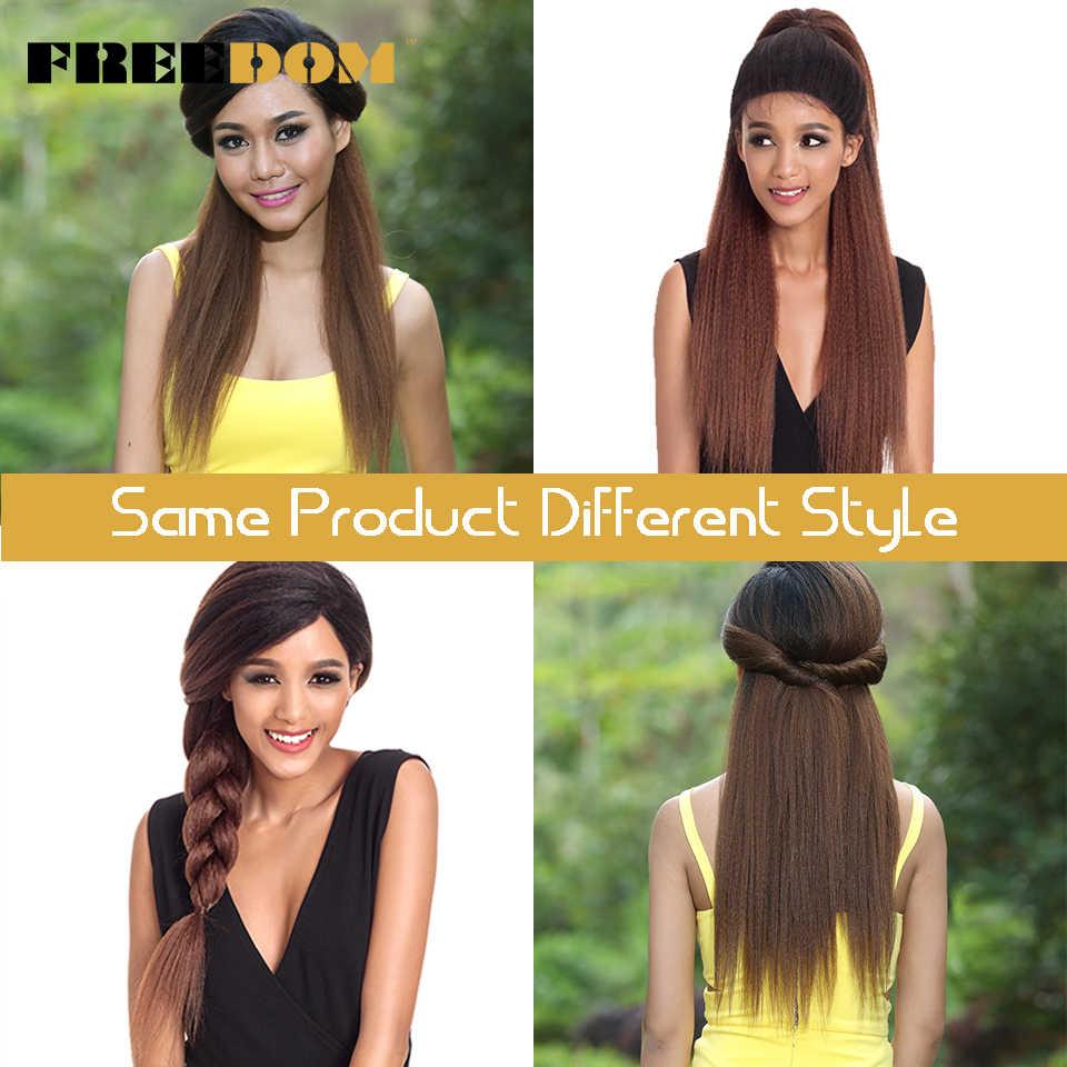FREEDOM синтетические парики с волосами младенца для черных женщин 26 дюймов Термостойкое волокно длинные Омбре коричневый Yaki прямой парик кружева спереди