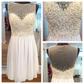 Luxury Cocktail Dresses Pearls Illusion White Short Homecoming Dresses 2016 Knee Length Crystal Chiffon ME037