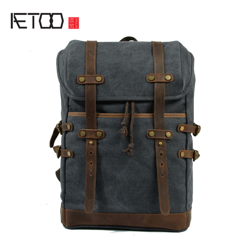 AETOO Retro canvas travel backpack computer bag large capacity travel bag shoulder bag men and women neutral leisure package personality retro men and women fashion large travel bag casual canvas handbag