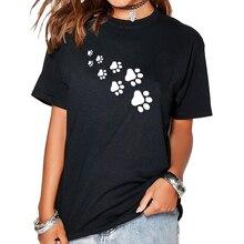 2017 T-Shirt Women`s Funny Paws Print Harajuku Product Clothes for Women Cat Alien Tumblr Vintage Vogue T Shirt Femme Tops