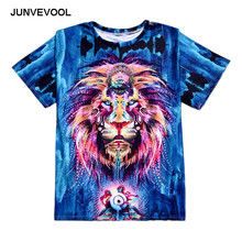 Hipster Crop t shirt Men Short Sleeve 3D t-shirt Funny Print Colorful Lion King Printed Cool Street Tees Tops Animal tshirts