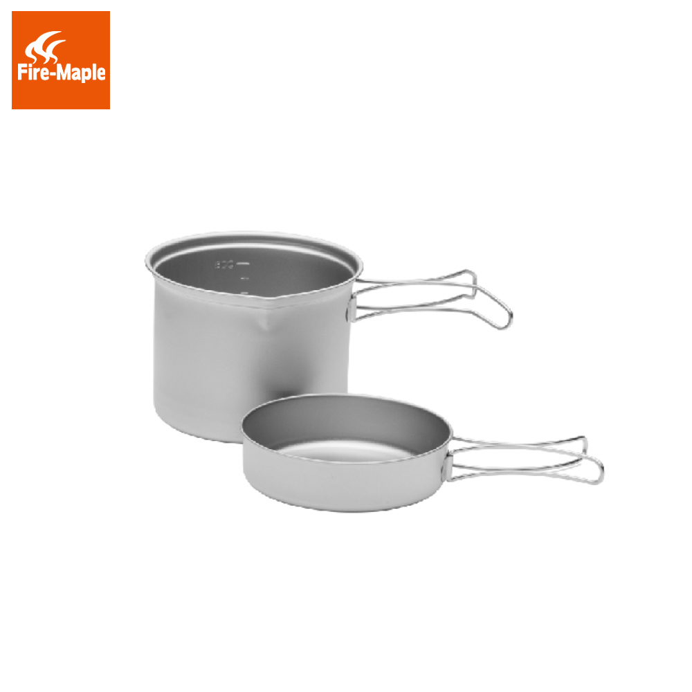Fire Maple SnowTi 2 Portable Snow Titanium 0.9L Outdoor Camping Pot and 0.28L Frying Pan Ultra-Light Camping Pots Set FMC-ST2 fire maple portable titanium flagon outdoor sake set camping wine pot with cup travel drinkware fmc 1703002 fmc 1703003