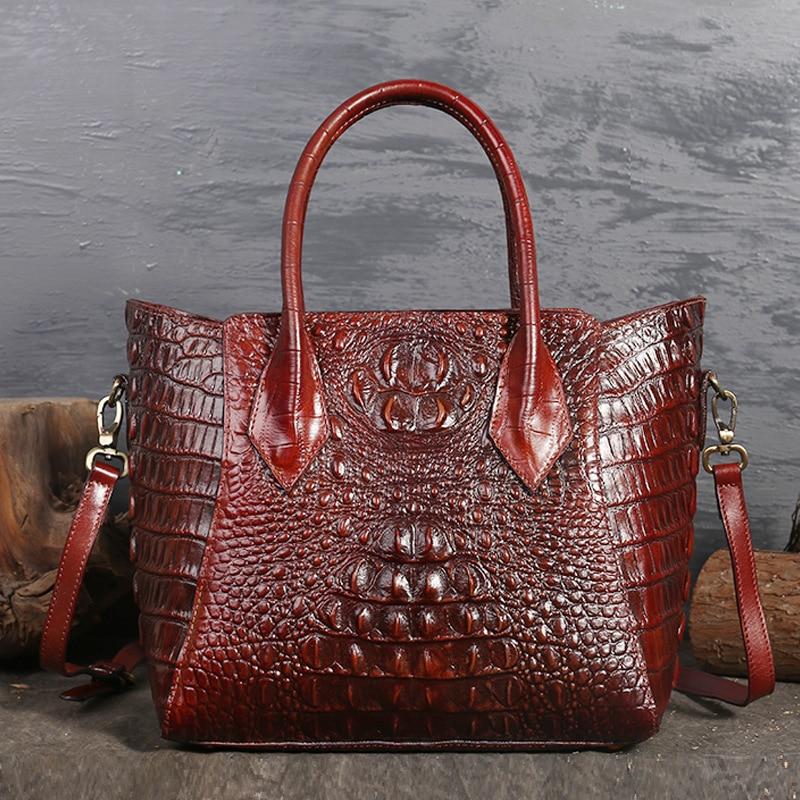 Ladies Genuine Leather Handbag Classical Crocodile Pattern Women Messenger Bag Brief Solid Cross-body Bags For WomenLadies Genuine Leather Handbag Classical Crocodile Pattern Women Messenger Bag Brief Solid Cross-body Bags For Women