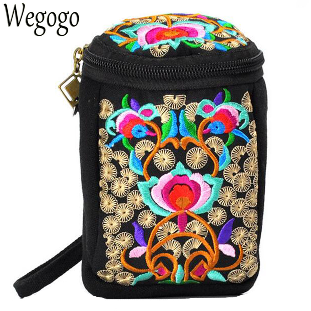 Vintage Women Embroidery Bag Boho Ethnic Embroidered Canvas Shoulder Messenger Bags Hmong Handmade Mini Small Camera Coins Bags