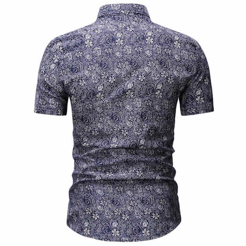 2019 男性シャツ夏スタイルパームツビーチハワイシャツ男性カジュアル半袖ハワイシャツシュミーズオム 3XL 23 色