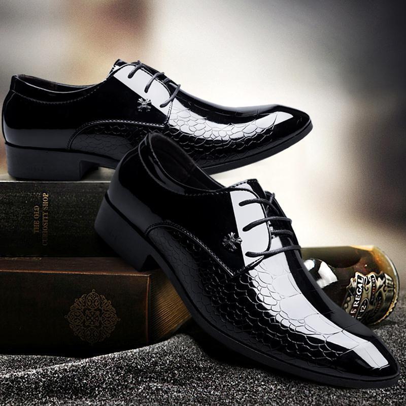 89ab9a62 Hombre Piel Zapatos De Oxford Negros Charol Para YqfpXx in quarterly ...