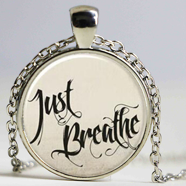 New just breathe necklace inspirational quote pendant jewelry new just breathe necklace inspirational quote pendant jewelry glass cabochon photo necklaces classic picture pendants aloadofball Images