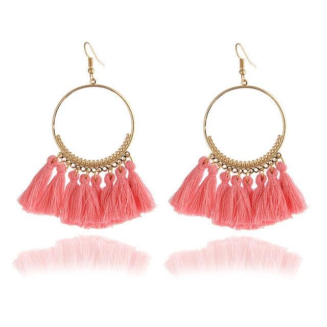 E0101 Ethnic Long Pink Tassel Earrings For Women Bohemia Style Handmade Tassel D