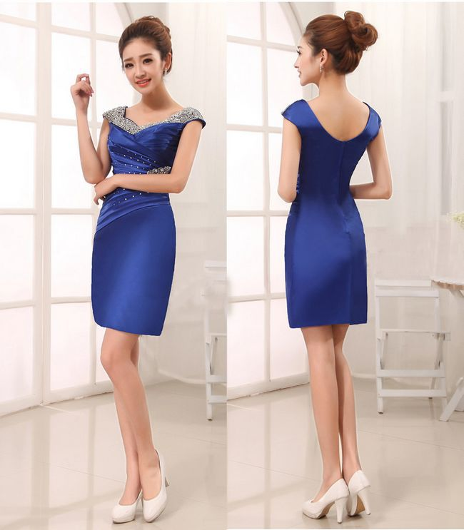 Royal Blue Cocktail Dress With Sleeves - Ocodea.com