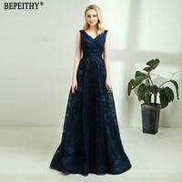BEPEITHY Vestido De Festa New Arrival V Neck Navy Blue Lace Beads Prom Dress Belt Long