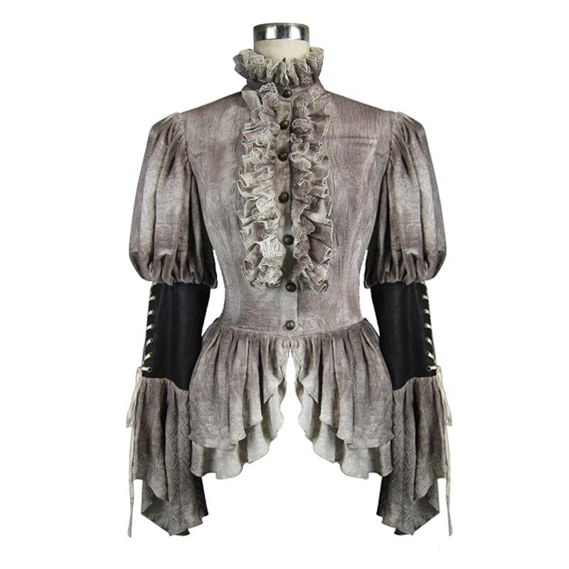 Дьявол Мода дворец Благородный двойной слои оборками с расклешенными рукавами для женщин блузки для малышек стимпанк демисезонный ретро