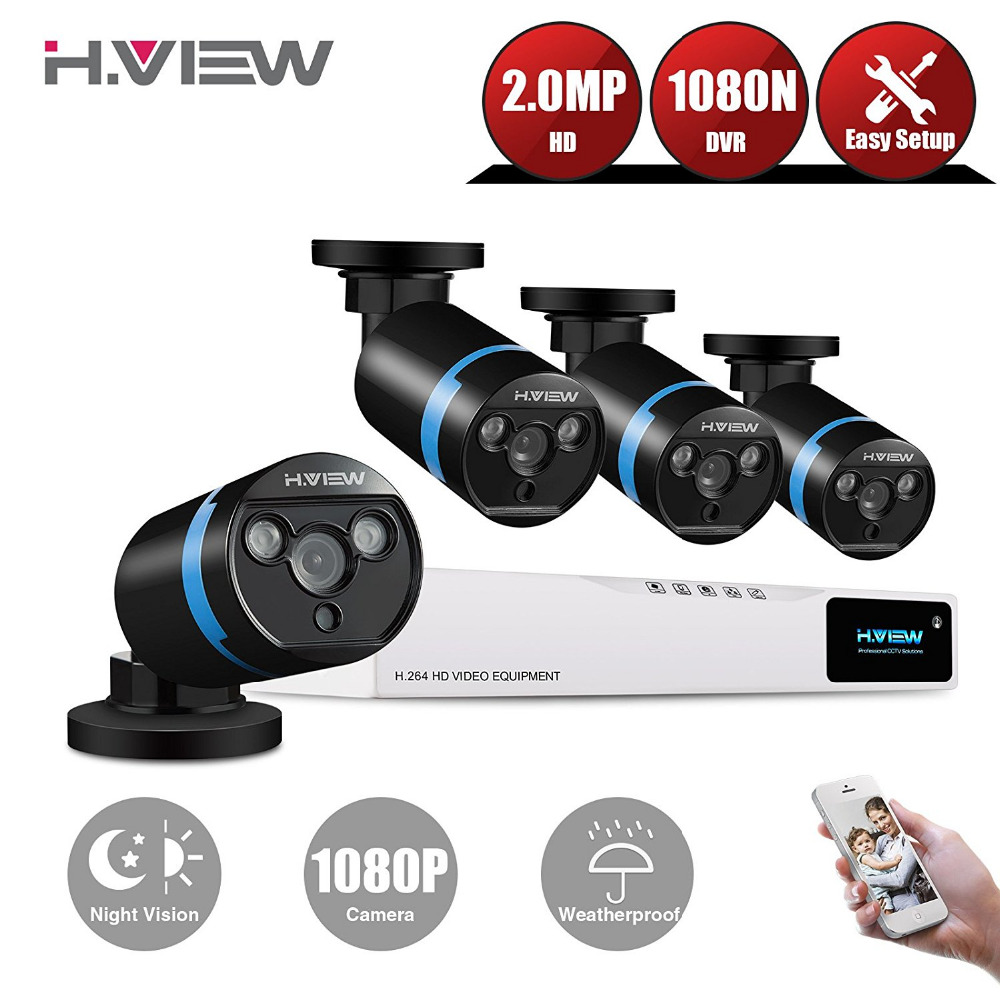 H.View 1080P Video Surveillance System 4CH CCTV Security Kit 4PCS 1080P Security Camera Super Night Vision 4 CH 1080N CCTV DVR