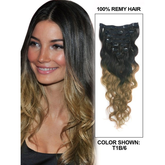 Hot Hair Color 2 Tone T1 6 Hair Weave Extensions 8 Piece Set Full