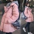 Uwback Rosa Parkas Mulheres 2017 Nova Marca Casacos Com Capuz Feminina Plus Size Solto Windbreak Outwear Quente Jaquetas Mujer TB1324