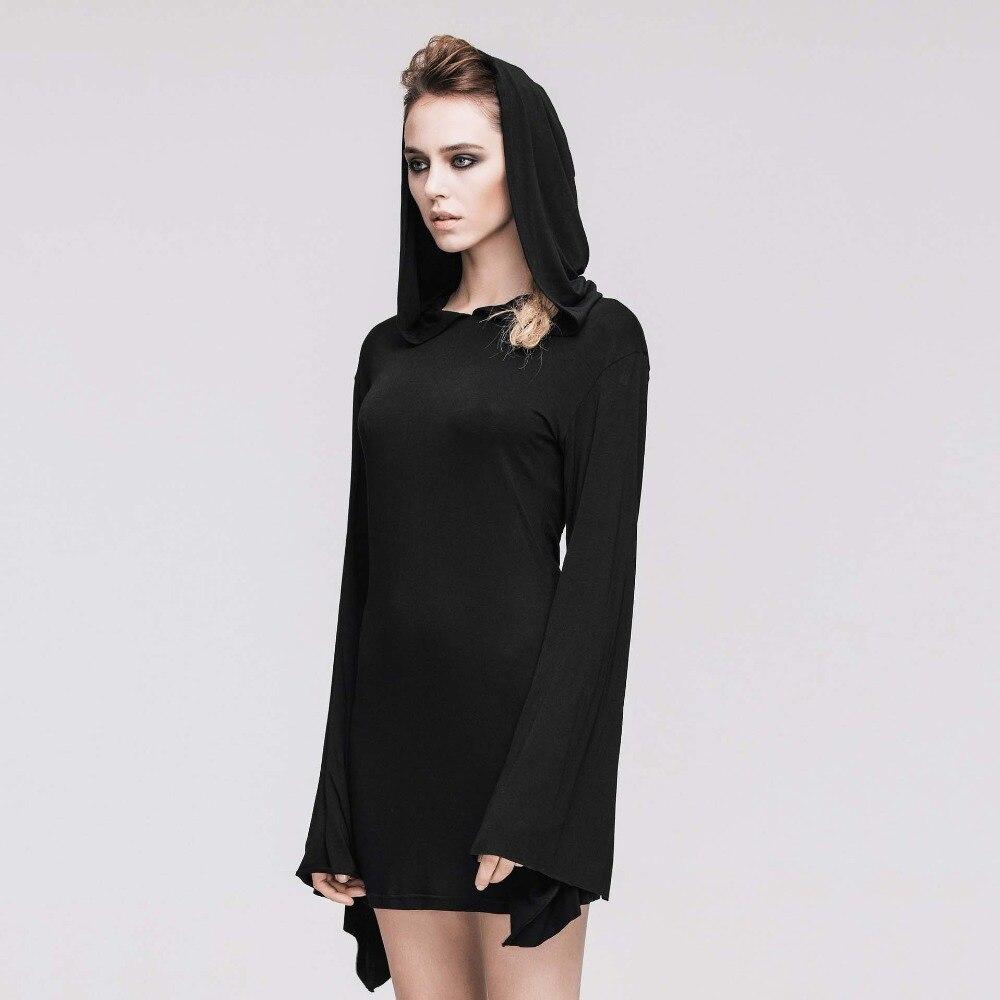Gothique Sexy noir Flare manches à capuche robe Rock Punk nuit Club fête robes courtes rétro Vintage Streetwear femmes vêtements 2019 - 5