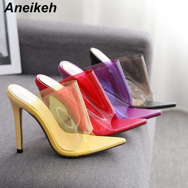 Aneikeh Best Sellers Slippers High Heels Sandals Fashion Candy Color Transparent  Heels Flip Flops Women Summer 0fcfe46d644b