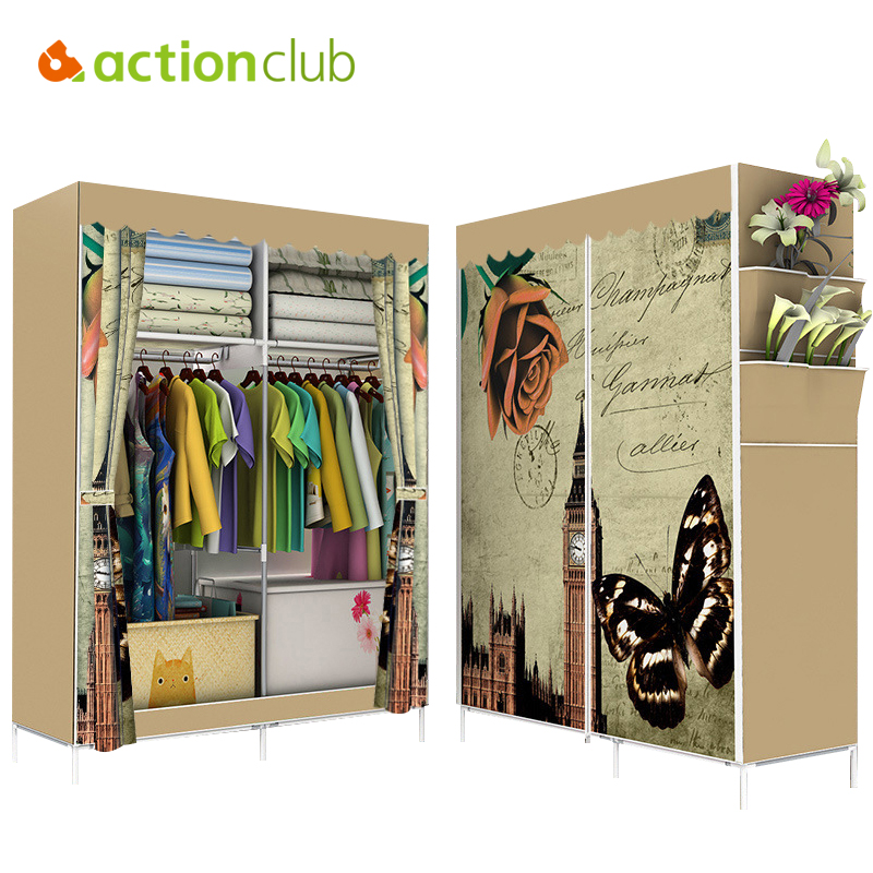 Actionclub Non-woven Cloth Wardrobe Folding Closet Reinforcement Large Wardrobe 3D Pattern Cartoon Cloth Cabinet Home Furniture the new cloth wardrobe simple reinforcement of low housing assembly large folding cloth