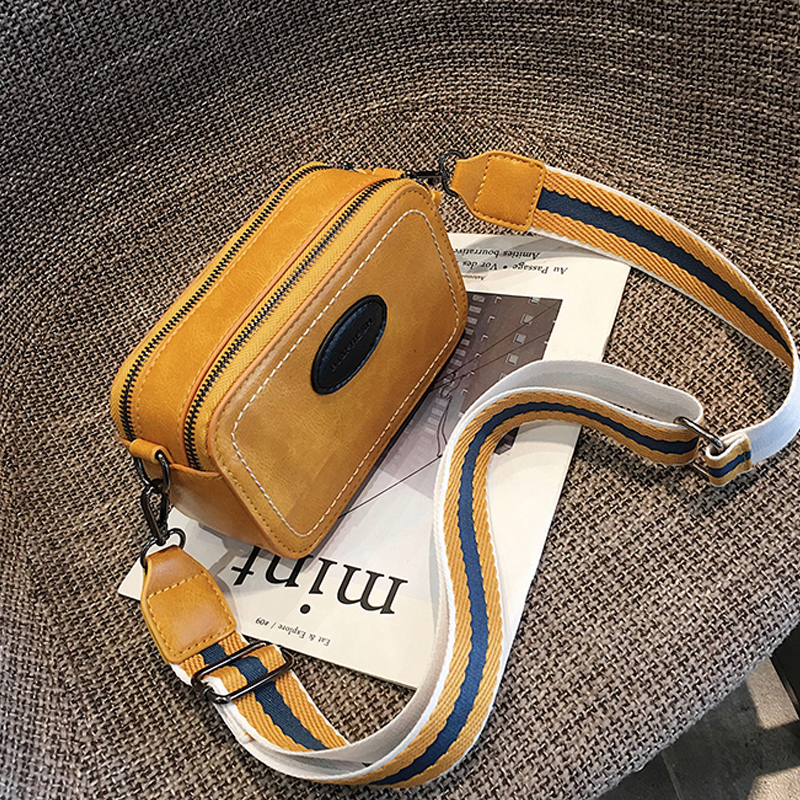 Vintage Wide Strap Women Crossbody Bags Designer Luxury Pu Leather Lady Shoulder Messenger Bag Small Flap  Square Purses Female