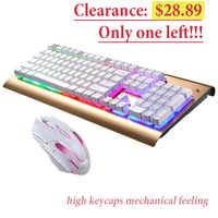 Проводная игровая клавиатура, мышь, набор, RGB светодиодный, клавиатура с подсветкой, компьютерная клавиатура, высокая клавиша, водонепрониц...