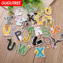 GUGUTREE embroidery alphabet cartoon patches letter animal badges applique for clothing YX-246