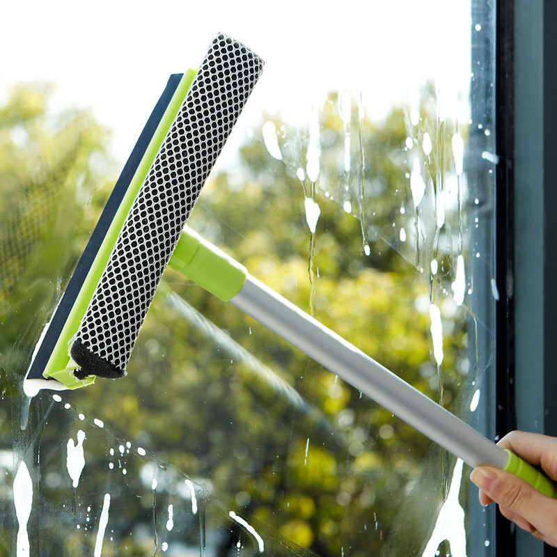 Extensible Pole Glass Scraper Cleaner Removable Anti-Skid Car Window Washing Revitalization Soft Sponge Squeegees Tool